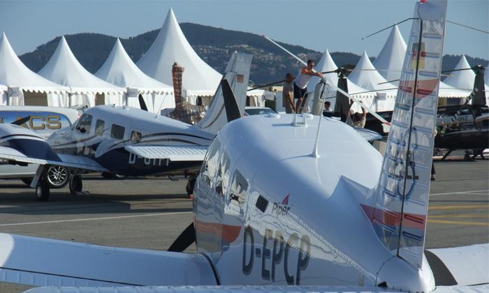 Trig flies in to Aero Expo France, Lyon.